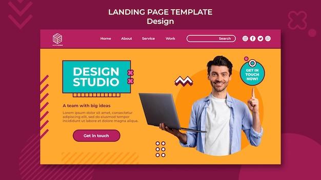 Modèle de page de destination de studio de conception