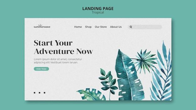 Modèle de page de destination de style design tropical