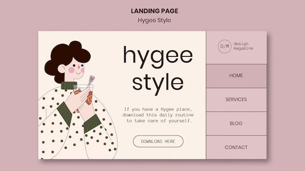 Modèle de page de destination de style hygge