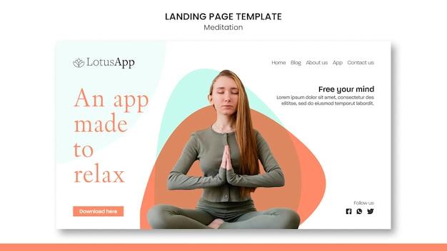 Modèle de page de destination de style de vie de méditation
