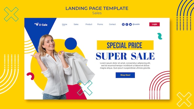 Modèle de page de destination de super vente de mode