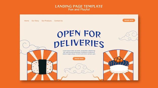 Modèle de page de destination de sushi bar