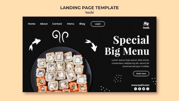Modèle de page de destination sushi