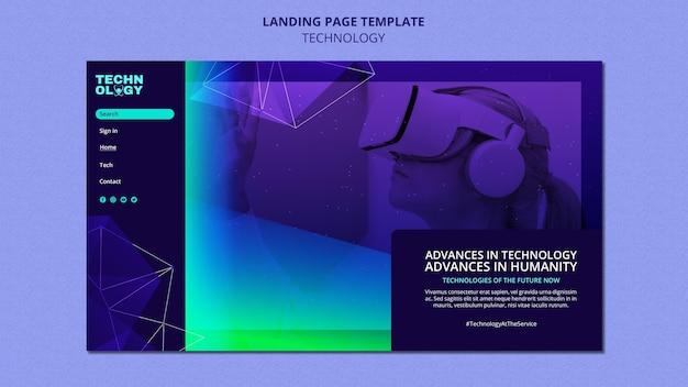 Modèle de page de destination de technologie de dégradé