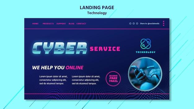 Modèle de page de destination technologique avec photo