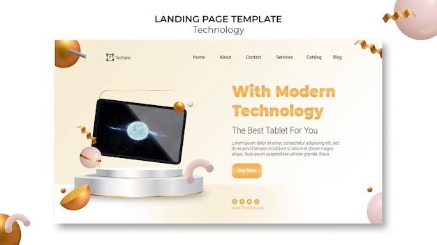 Modèle de page de destination technologique
