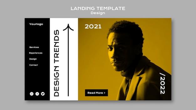 Modèle de page de destination des tendances de conception