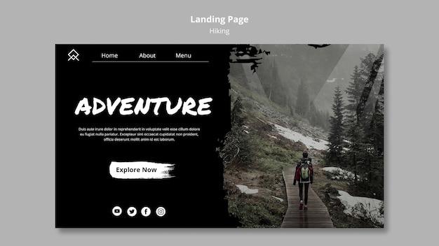 Modèle de page de destination avec thème de randonnée