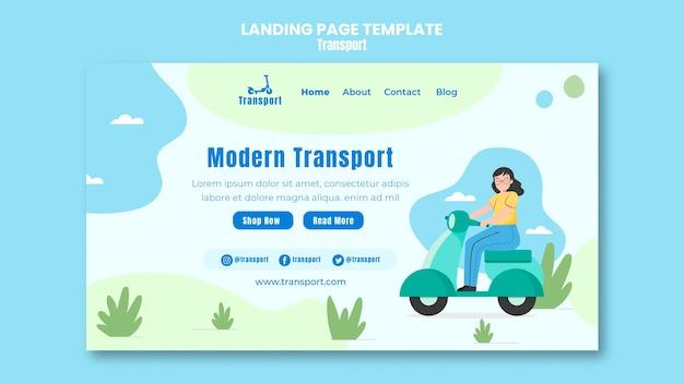 Modèle de page de destination de transport moderne