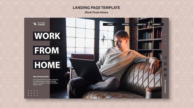Modèle de page de destination de travail à domicile