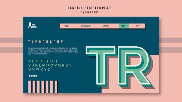 Modèle de page de destination de typographie