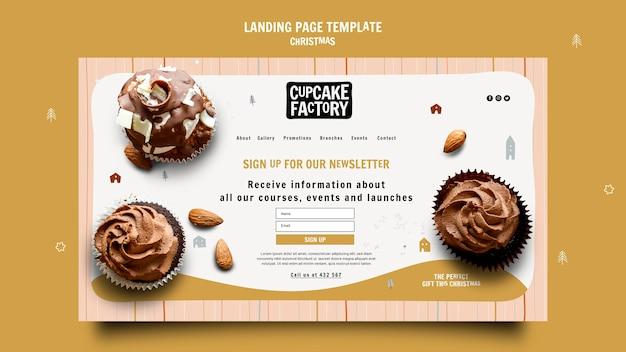 Modèle de page de destination de l'usine de cupcakes de noël
