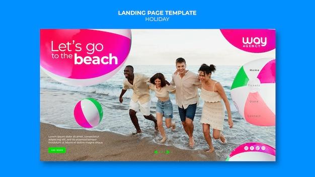 Modèle de page de destination de vacances d'amis