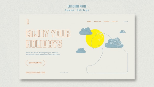 Modèle de page de destination avec vacances d'été