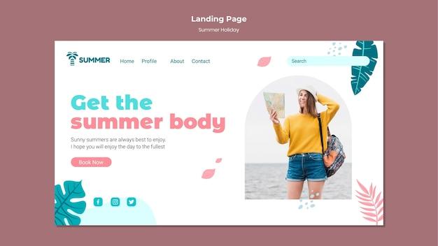 Modèle de page de destination des vacances d'été