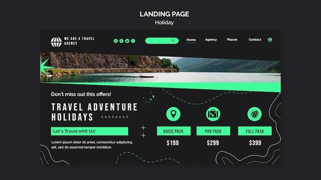 Modèle de page de destination des vacances avec photo