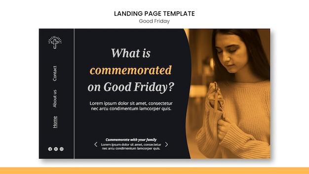 Modèle de page de destination de vendredi saint avec photo