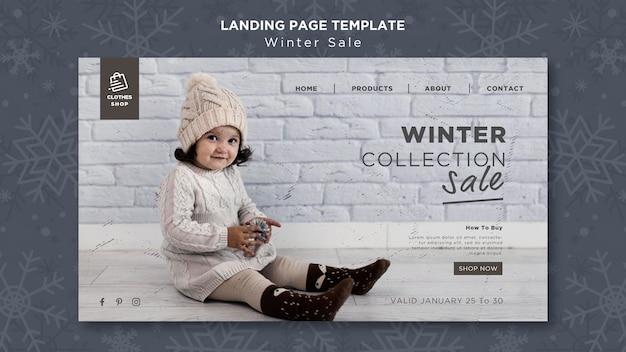 Modèle de page de destination de vente de collection hiver enfant mignon