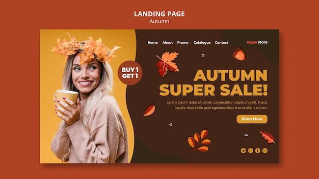 Modèle de page de destination de vente d'été d'automne