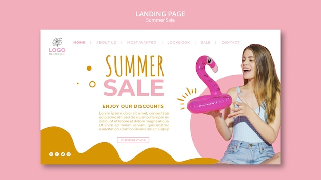 Modèle de page de destination de vente d'été avec photo