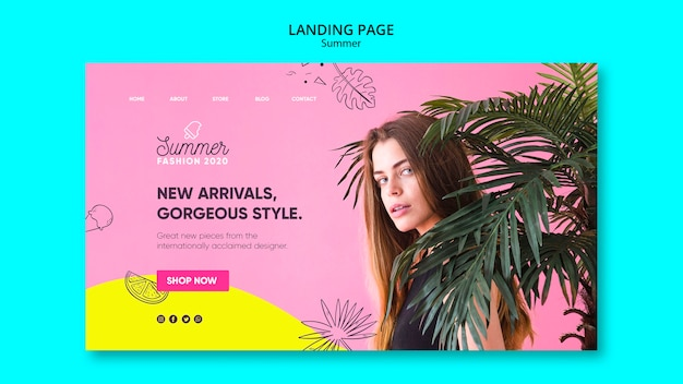 Modèle de page de destination avec vente d'été