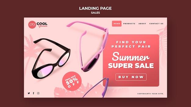 Modèle de page de destination de vente de lunettes