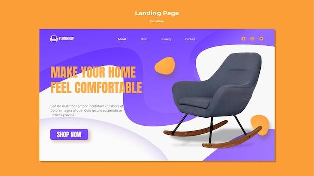 Modèle de page de destination de vente de meubles