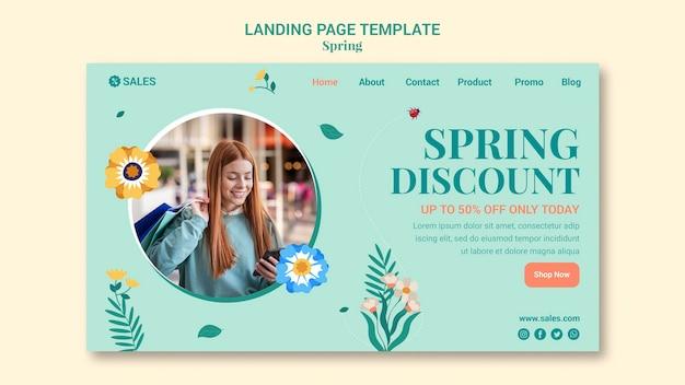 Modèle de page de destination de vente de printemps