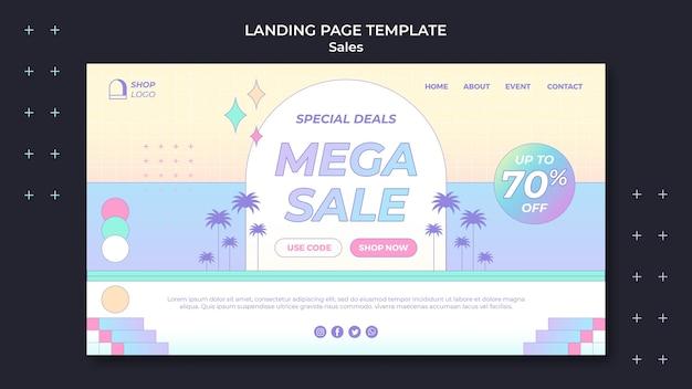 Modèle de page de destination de vente rétro