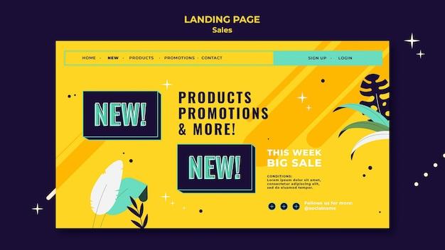 Modèle de page de destination des ventes avec des couleurs vives