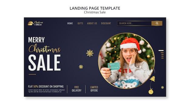 Modèle de page de destination des ventes de noël avec des détails dorés