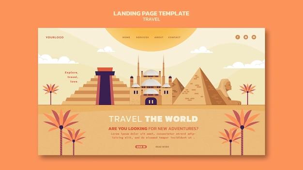 Modèle de page de destination de voyage dans le monde