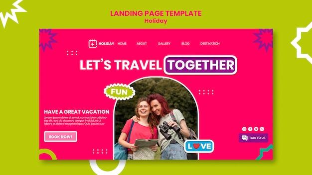 Modèle de page de destination voyage ensemble