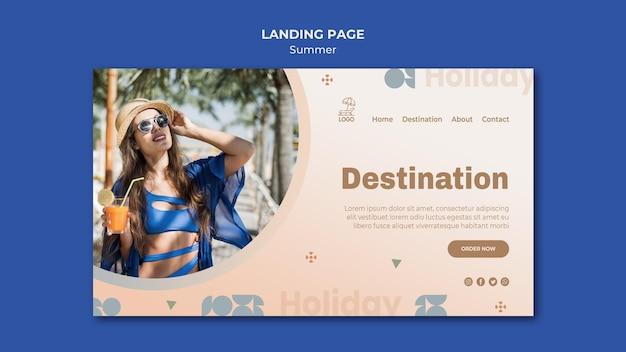 Modèle de page de destination de voyage d'été