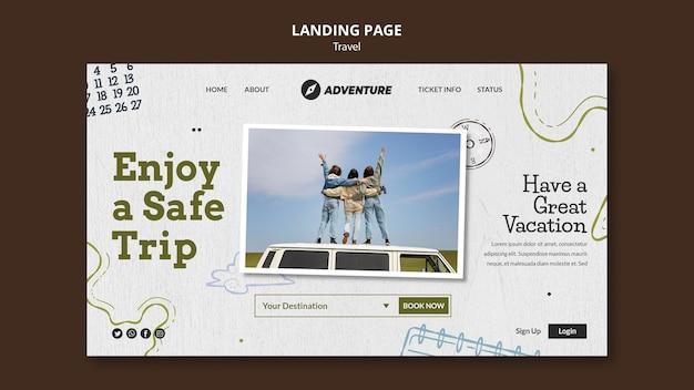 Modèle de page de destination de voyage avec photo