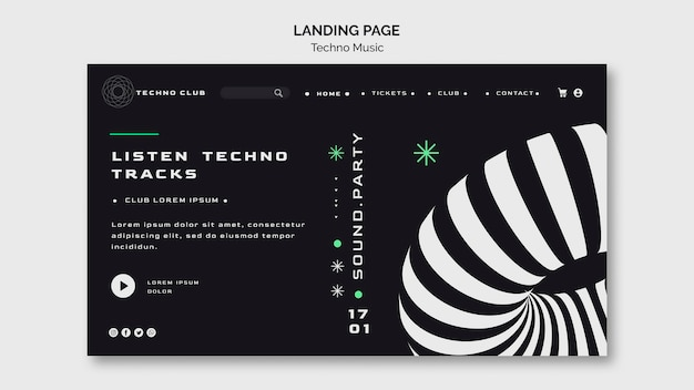 Modèle de page de destination web du festival de musique techno