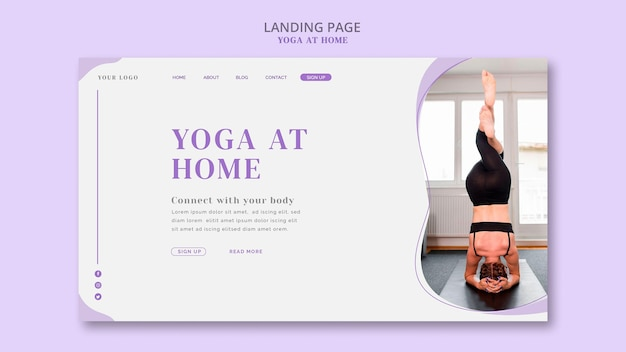 Modèle de page de destination yoga à la maison