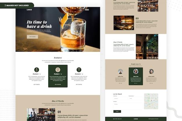 Modèle de page de site web de bar