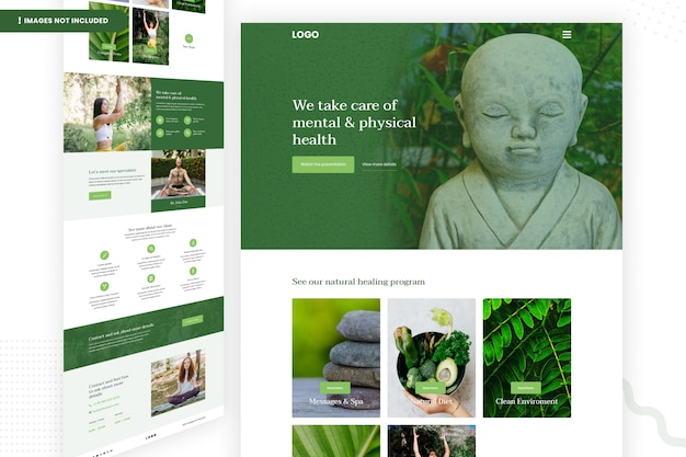 Modèle de page de site web de santé mentale et physique