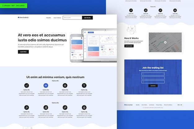 Modèle de page de site web service hub