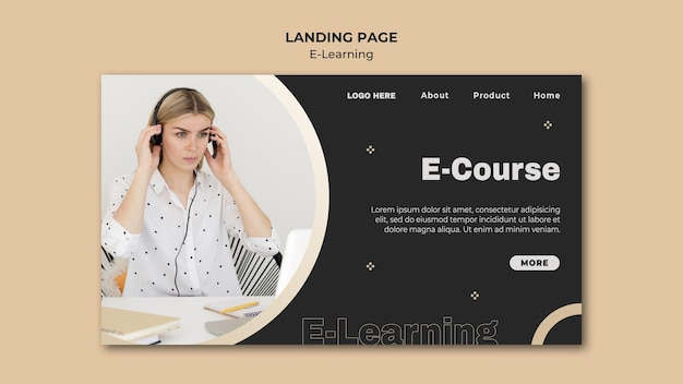 Modèle de page web d'apprentissage en ligne