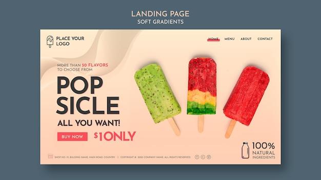 Modèle de page web de crème glacée à gradient doux