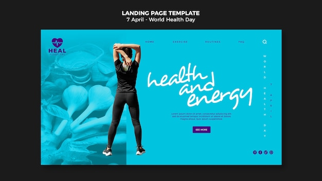 Modèle de page web de la journée mondiale de la santé