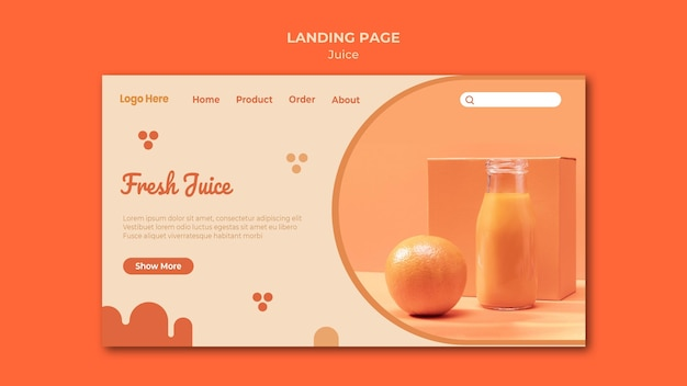 Modèle de page web de jus d'orange