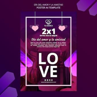 Modèle de papeterie affiche amour saint valentin