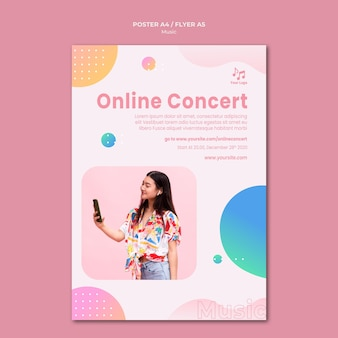 Modèle de papeterie de flyer de concert en ligne