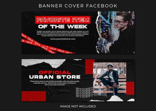 Modèle de papier déchiré de mode streetwear de couverture facebook