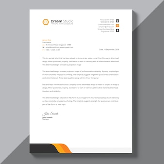 Modèle de papier à en-tête avec détails orange