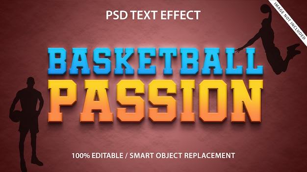 Modèle de passion de basket-ball d'effet de texte