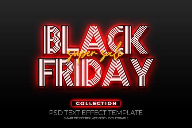Modèle personnalisé d'effet de texte super vente vendredi noir avec fond doré brillant, rouge et noir